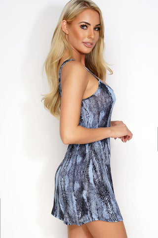 Caroline Slip Dress - Blue Snake