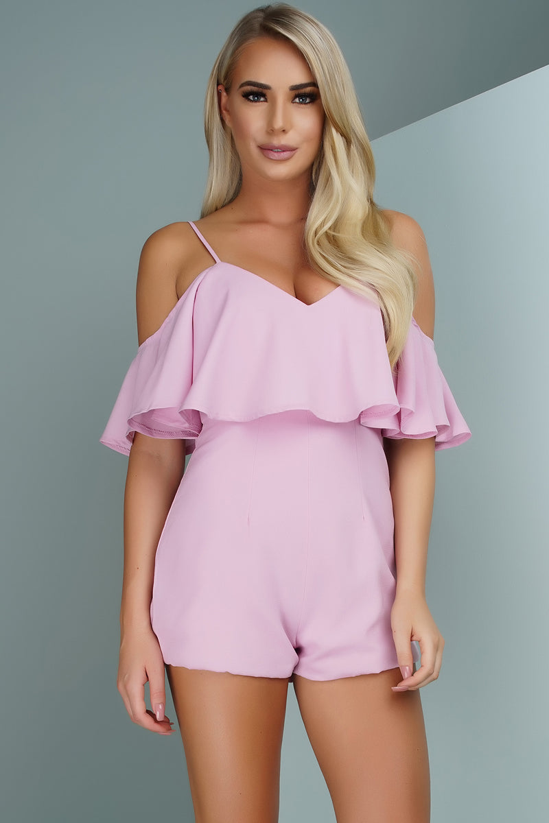 Olympia Off Shoulder Romper - Pink - WantMyLook