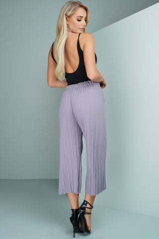 Pleated Bell Bottom Trousers - Grey