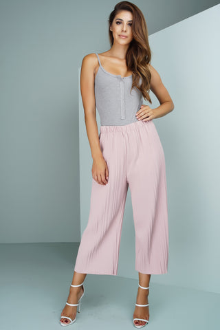 Pleated Bell Bottom Trousers - Pink