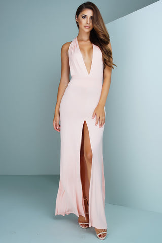 Dia Halter Maxi Dress - Baby Pink