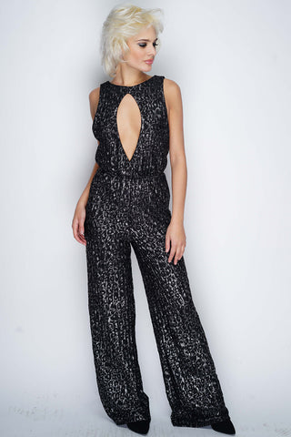 Elisa Metallic Jumpsuit - Black - WantMyLook