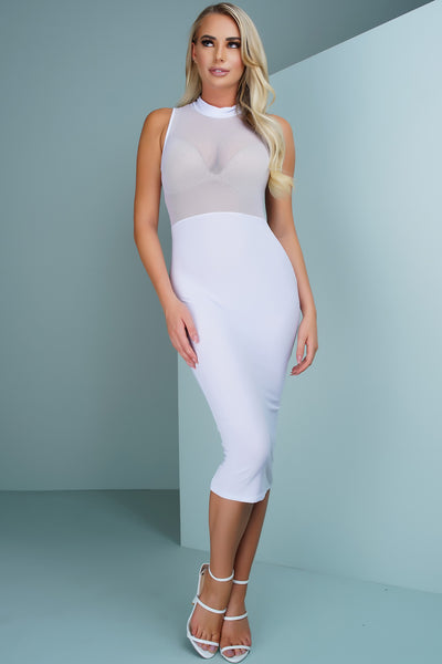 Sutton Mesh Dress - White - WantMyLook