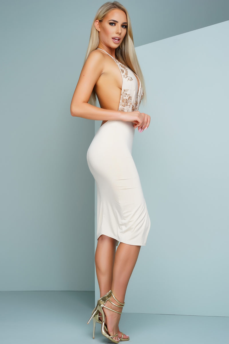 Amity Beaded Midi Dress - Nude - WantMyLook