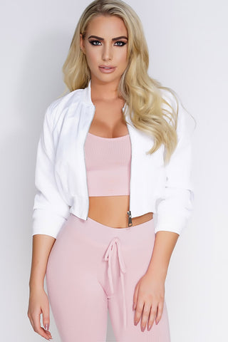 Crop Bomber Jacket - White