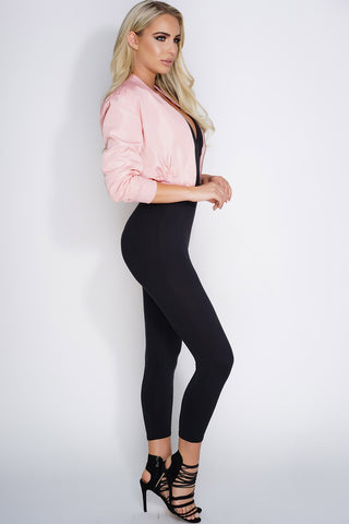 Crop Bomber Jacket - Pink