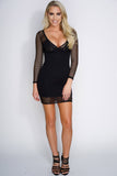 Lauren Net Mesh Mini Dress - Black