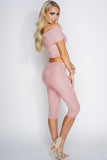 Harley Off Shoulder Cropped Suede Set - Pink - WantMyLook