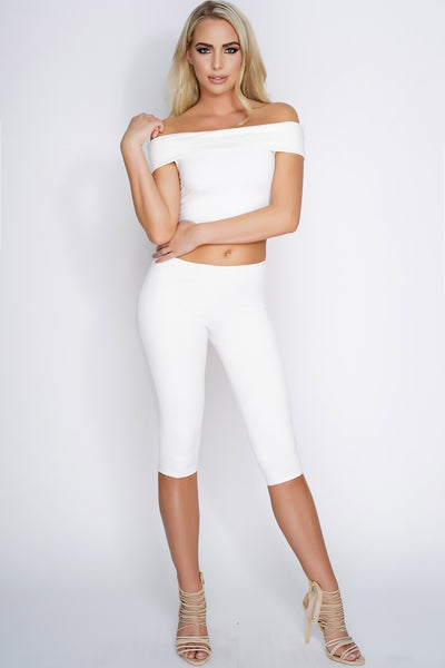 Harley Off Shoulder Cropped Suede Set - White - WantMyLook