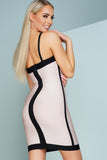 Honey Two Tone Cut Out Bandage Dress - Pink/Black - WantMyLook