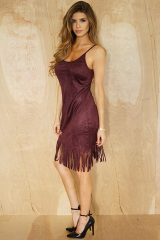 Juliet Fringe Dress - Wine - WantMyLook