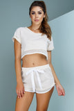 Flirt Fishnet Crop Top - Tan