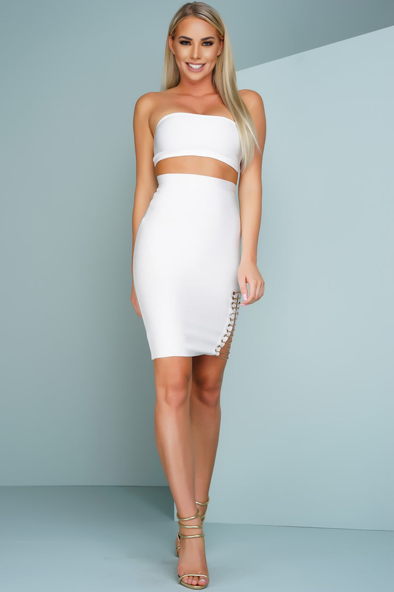 Lany Strapless Chain Bandage Set - White - WantMyLook