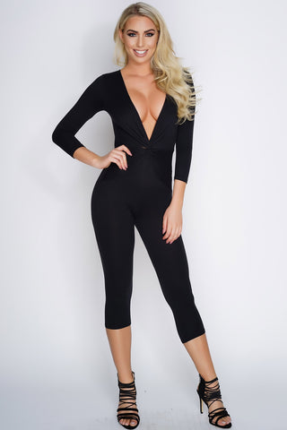 Dionne Cropped Knot Jumpsuit - Black - WantMyLook