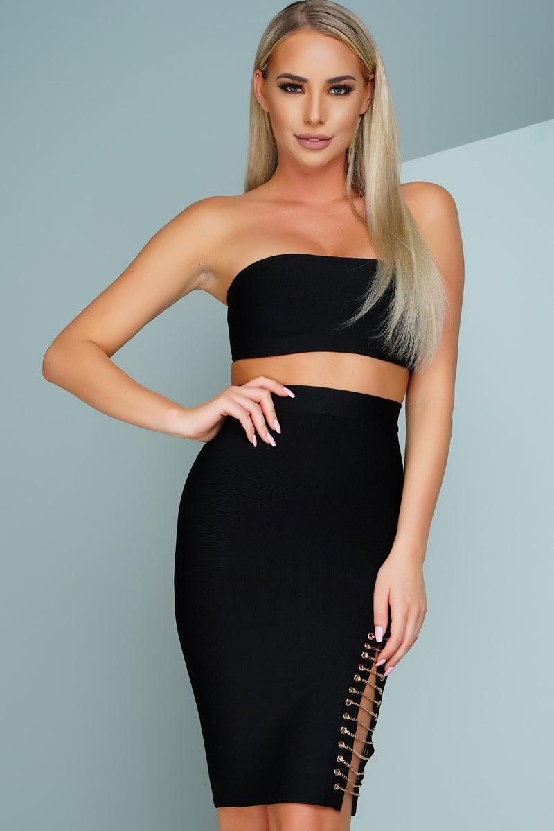 Lany Strapless Chain Bandage Set - Black - WantMyLook