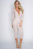 Dionne Cropped Knot Jumpsuit - Tan