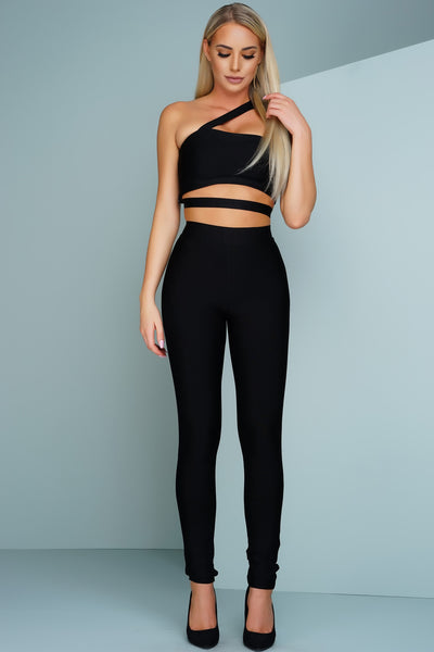 Sonja One Shoulder Bandage Jumpsuit - Black - WantMyLook