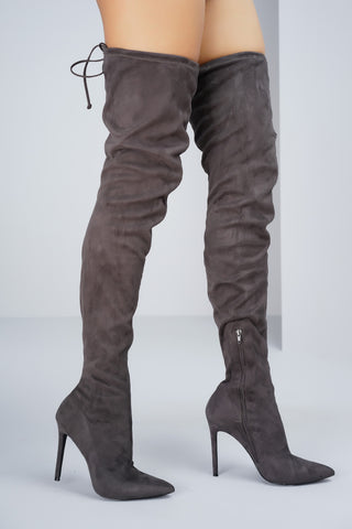 Giselle Over the Knee Boots - Grey