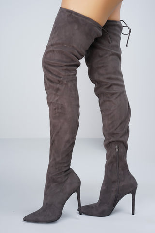 Giselle Over the Knee Boots - Grey - WantMyLook