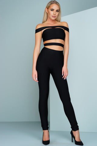 London Off The Shoulder Bandage Jumpsuit - Black - WantMyLook