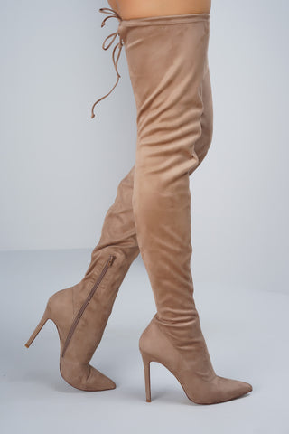 Giselle Over the Knee Boots - Taupe