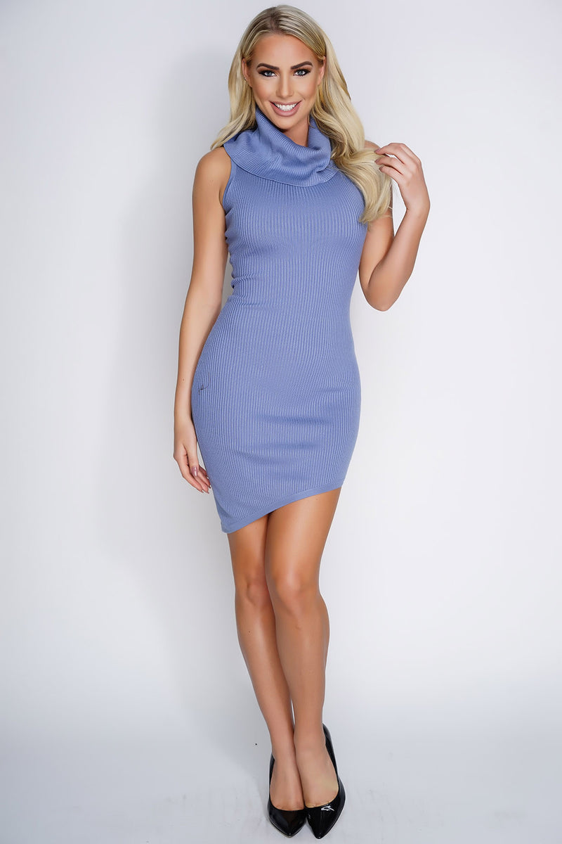 Leona Knit Dress - Dusty Blue - WantMyLook