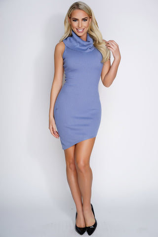 Leona Knit Dress - Dusty Blue