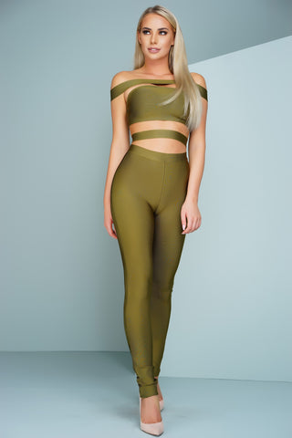 London Off The Shoulder Bandage Jumpsuit - Olive