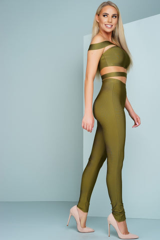 London Off The Shoulder Bandage Jumpsuit - Olive - WantMyLook