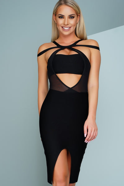 Tally Cross Mesh Front Slit Bandage Dress - Black - WantMyLook