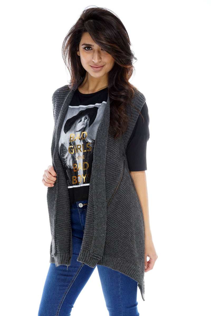 Emily Zipper Vest - Grey - WantMyLook