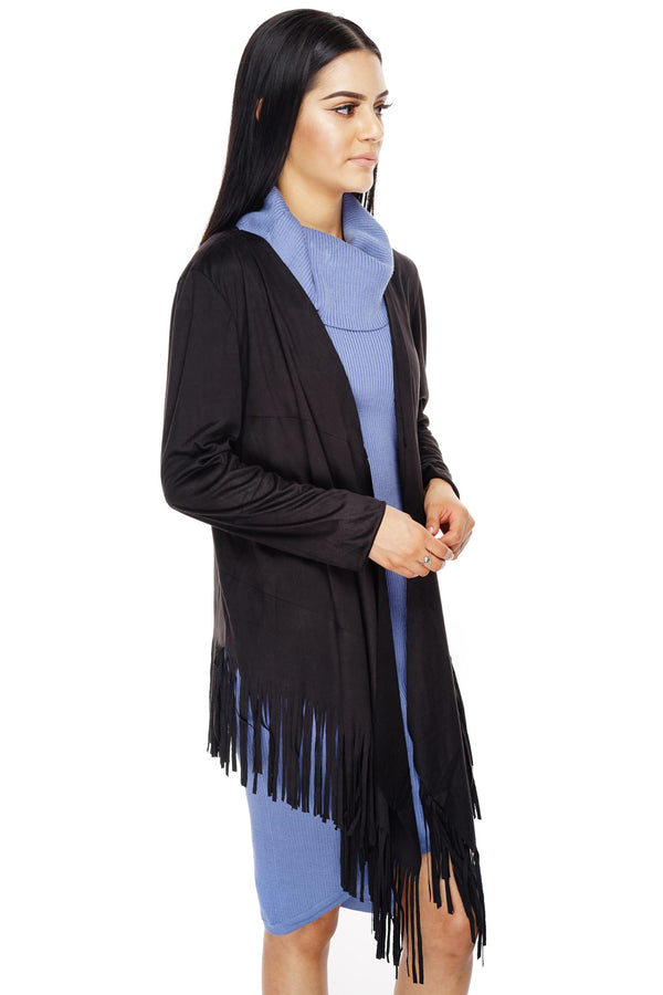Autumn Suede Fringe Cardigan - Black - WantMyLook