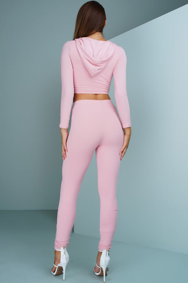 Janie Ribbed Knit Cropped Jogger Set - Blush - WantMyLook