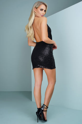 Rue Sequins Mini Dress - Black - WantMyLook