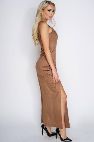 Reese Suede Maxi Dress - Brown