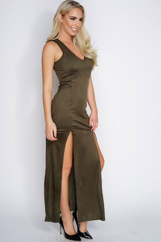 Reese Suede Maxi Dress - Olive