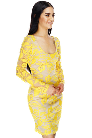 Anita Lace Dress - Yellow - WantMyLook