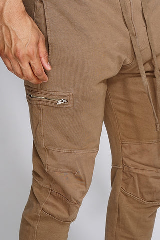 AJ Drop Zipper Joggers - Taupe - WantMyLook