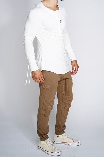 MK Long Sleeve Henley Shirt - White