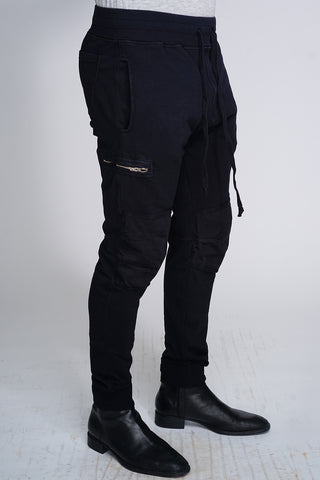 AJ Drop Zipper Joggers - Black
