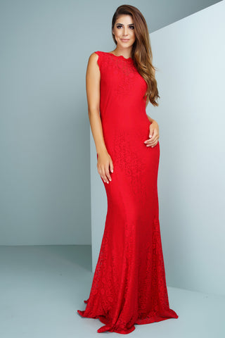 Daniella Lace Gown - Red - WantMyLook