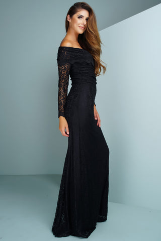 Sam Off Shoulder Lace Gown - Black - WantMyLook