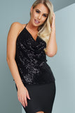 Cierra Sequins Top - Black