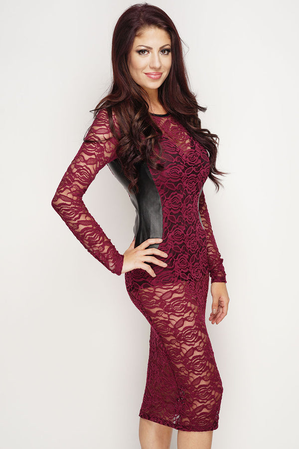 Bea Lace Dress - Wine - WantMyLook