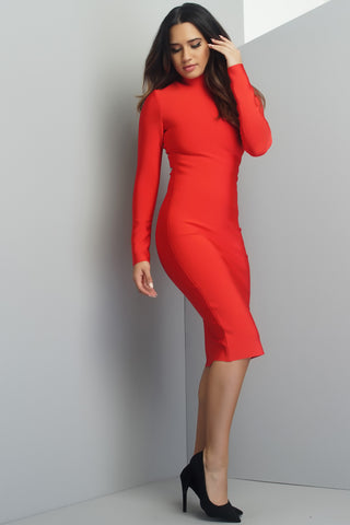 Albany Bandage Midi Dress - Red