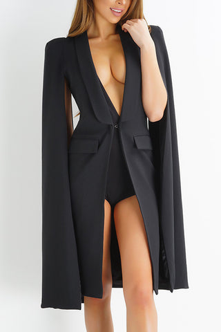 The Essential Piece Cape Dress - Black