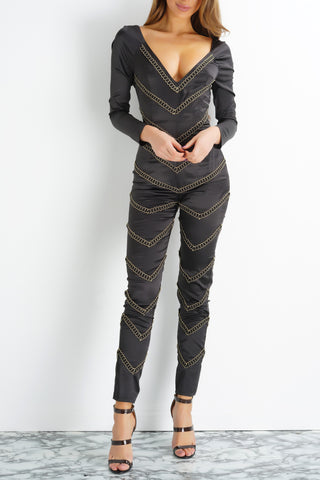 Chevron Pattern Gold Jumpsuit - Black/Gold