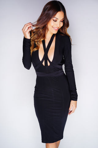Morena Multi-Wrap Dress - Black