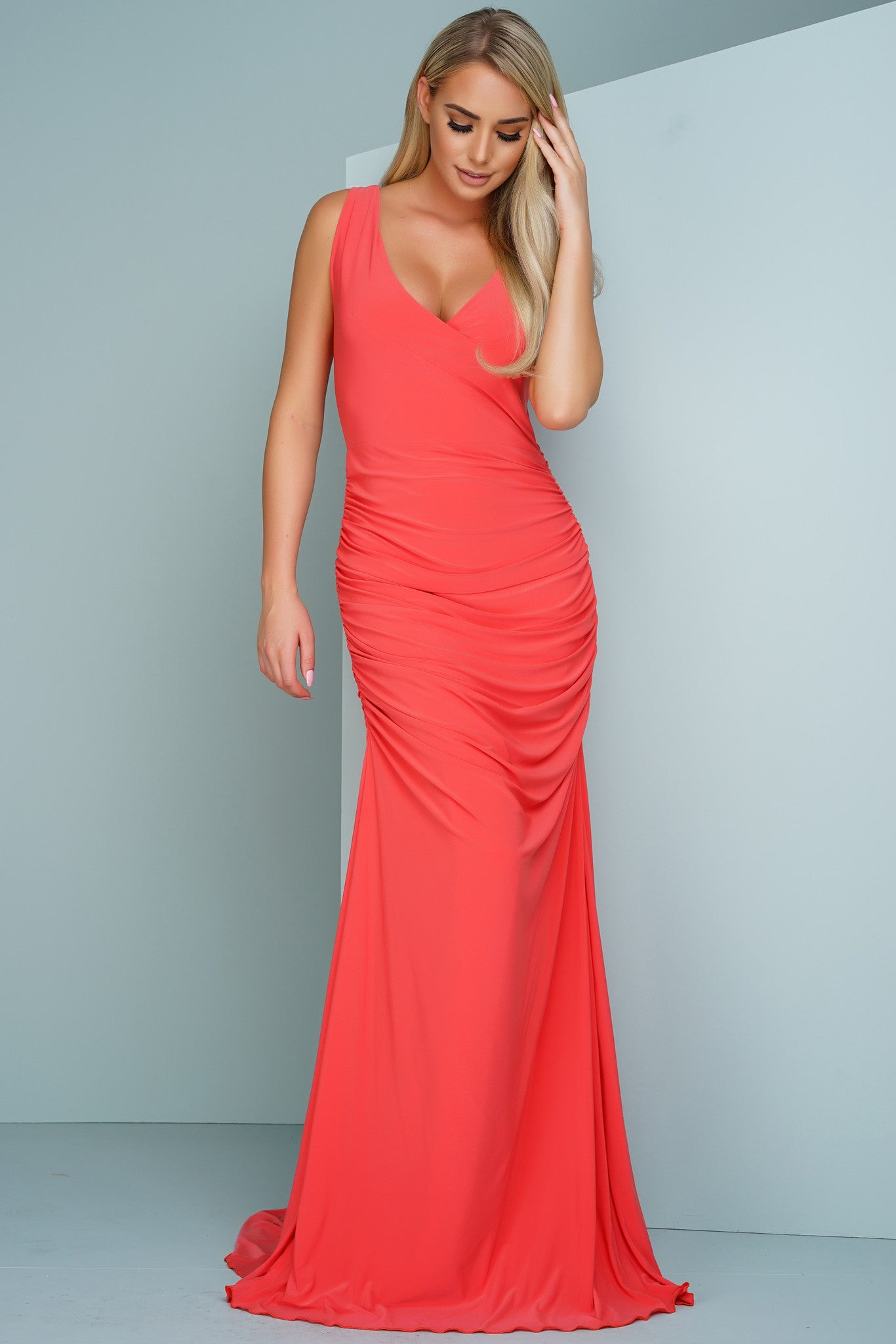 Kendra Sleeveless Evening Gown - Coral – WANTMYLOOK