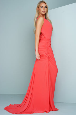 Kendra Sleevless Evening Gown - Coral - WantMyLook